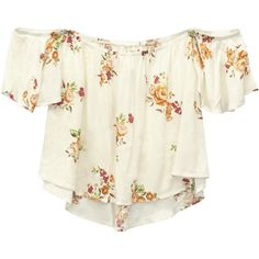 California Gypsy™ Flounce Top ($25) ❤ liked on Polyvore featuring tops, blouses, shirts, short sleeve blouse, white short sleeve blouse, floral blouse, white off the shoulder shirt and white gauze shirt