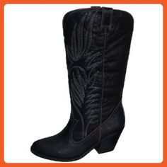 Qupid Muse-64 Western Embroidered Cowboy Knee High Boot BLACK (8) - Boots for women (*Amazon Partner-Link)