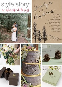 Rustic wedding idea:  An enchanted forest woodland wedding theme! Get all the pieces you'll need for this look from @dawninvites  http://www.invitationsbydawn.com/Themes-And-Styles/style-story-enchanted-forest.hlp?utm_source=BrideClick&utm_medium=SB&utm_campaign=Sept