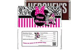 Hot Pink Minnie Mouse Zebra Print Birthday Candy Bar Wrapper