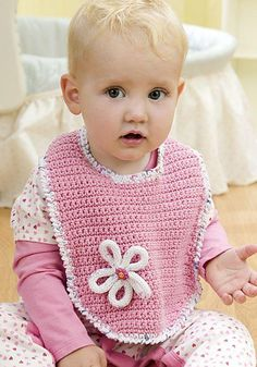 Free pattern  Ravelry: Blossom Bib pattern by Joan Barnett   Simple and easy (pdf download from Coats and Clark)