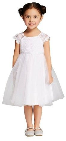 Tevolio Toddler Girls' Lace and Tulle Flower Girl Dress