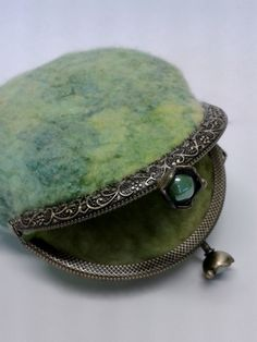 Wool felt small purse with silk detail using hand dyed Australian merino wool 11265 Green by Feltedfibres on Etsy