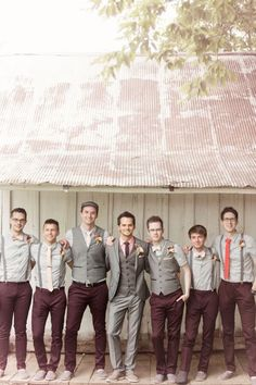 Wedding Suits Mix and Match Groomsmen Suits :: 2017 Wedding Trends - Planning on getting married in 2017 or Get inspired by these 2017 Wedding Trends. From greenery weddings to boho-chic wedding designs. Mismatched Groomsmen, Groomsmen Poses, Groomsmen Outfits, Groom And Groomsmen Attire, Bridesmaids And Groomsmen, Gray Groomsmen, Fall Wedding Groomsmen, Guys Wedding Attire, Fall Wedding Suits