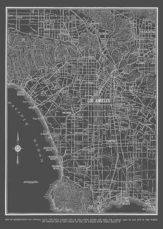 1938  Los Angeles Street Map Vintage 20x30 Dark Gray by TheMapShop, $12.95