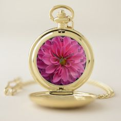 Pink Dahlia Pocket Watch - accessories accessory gift idea stylish unique custom