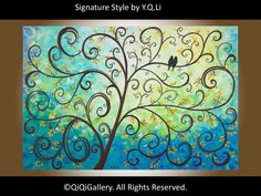 Large Giclee Poster Print Modern Love Birds on Tree by QiQiGallery