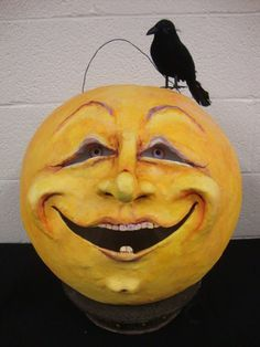 Man in the Moon Crow Vintage Look Halloween folk art Lantern