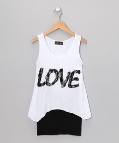 White 'Love' Tank  Black Skirt | Daily deals for moms, babies and kids
