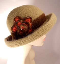 Army Green Felted Hat with Brim by yoursbydesign on Etsy, $69.00