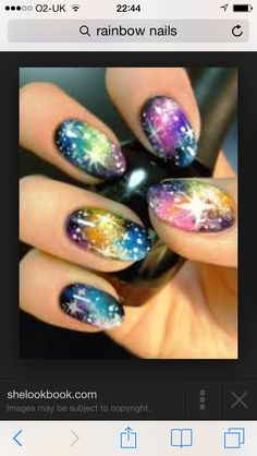 Amazing and unusual galaxy plus rainbow nails #pride need these nails so bad x
