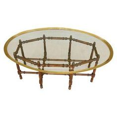 Baker Style Faux Bamboo & Brass Coffee Table