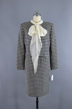 Vintage Valentino Miss V Suit / Gingham Wool with Silk Blouse & Scarf  #vintage #shopvintage