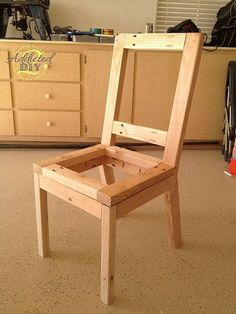 I built the chairs using 2x2s and 2x3s with plywood seats and backs. The plans are modified from the Parson Chair plans on ana-white.com
