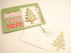 138.クリスマスツリーのスタンプでクリスマスカード | 簡単手作りカード                                             Chocolate Card Factory