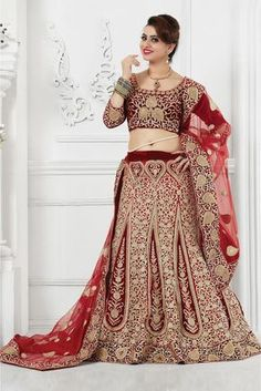 Red Colour Velvet and Net Designer A-Line Lehenga Choli Comes With Matching Blouse and Dupatta. This Lehenga Choli Is Crafted With Patch Border Work,Embroidery,Resham Work. The Lehenga Is Semi stitche...