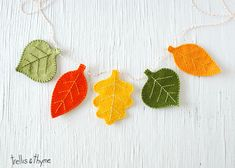 This pretty leaf garland celebrates the colors and shapes of autumn. Hand-stitch…