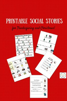 Printable social stories for Christmas and Thanksgiving.