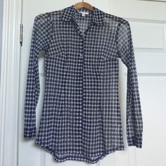 CAbi Mesh Top Sz XS In perfect condition!  This looks great as a swim cover up or with boyfriend jeans.  Navy and white checkered mesh long sleeved button down top. CAbi Tops Button Down Shirts