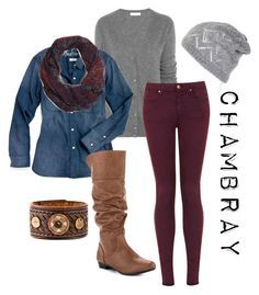 """""""Chambray"""" by jblankenship ❤ liked on Polyvore featuring Equipment, Topshop, Madewell, Report and Brooks Brothers"""