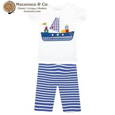 Nautical inspired pajamas for little adventurers.    Boat appliqué T-shirt teamed with comfy striped slim fit shorts. Fully elasticated waist for stretch and comfort, offering plenty of room for growth. All our children's pajamas are made using natural cotton yarns to enable skin to breathe easily which is either knitted or woven into super-soft fabrics.    Sizing: Runs Small, buy a size larger than what you would normally buy.      	100% Cotton  	Machine washable  	Designed in England…
