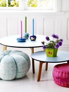 Candle Holders and Pouffe from RICE
