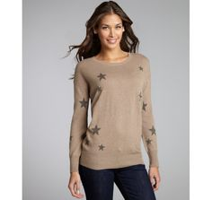 C3 Collection khaki cashmere scattered star crewneck sweater