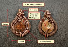 Wire Wrap Pendant. Ammonite fossil slice Madagascar. от vorobev