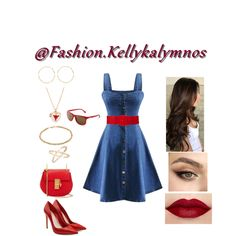 Fashion set Denim with red created via Red Fashion, Fashion Dresses, Fashion Looks, Top Show, Short Dresses, Summer Dresses, Spring Trends, Dress Styles, Lace Tops