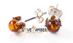 Polished Cognac Baltic Amber Silver Stud Earrings