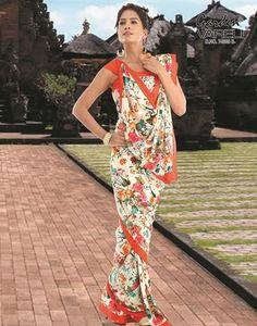 Buy #Floral #Affair #Orange #Crepe #Saree at Best Price for Rs.791/-