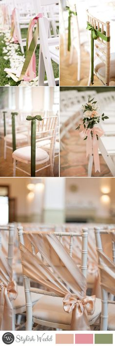 DIY wedding chair decoration with ribbon