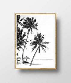 Palm Print Palm Wall Art Black and White Palm Palm Tree