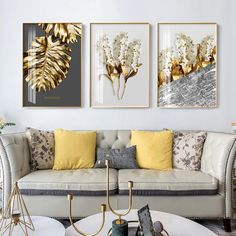 Abstract Tropical Gold Wall Art Nordic Style Golden Botanic Floral Fin – NordicWallArt.com Gold Wall Art, Leaf Wall Art, Gold Art, Canvas Wall Decor, Wall Art Decor, Canvas Frame, Living Room Paint, Living Room Decor, Dining Room