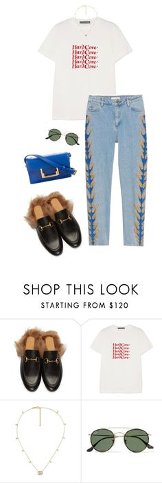 """""""Untitled #2610"""" by shelleytrinder ❤ liked on Polyvore featuring Gucci, AlexaChung, Ray-Ban and Yves Saint Laurent"""