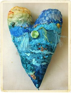 textile artist photography and mixed media - Carolyn Saxby Textile Art St Ives Cornwall Textile Fiber Art, Textile Artists, Fibre Art, Textiles, My Funny Valentine, Valentines, Carolyn Saxby, Fabric Hearts, I Love Heart