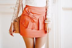 Orange Bow Skirt + Ivory Lace Top <3
