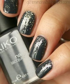 Glittery… | Gray Is The Best Color For Any Manicure