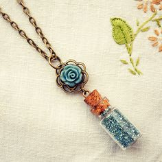 Miniature Bottle Necklace with Blue German Glass Glitter and Rose by Dear Delilah