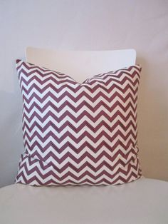 18 inch throw pillow cover, Chevron purple eggplant and white. Zigzag pattern, with polka-dots, modern print. For indoor use.