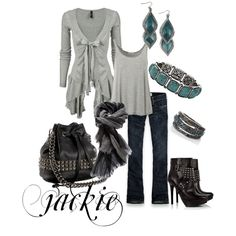 Some Gray Love with teal, created by jackijons