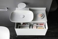 Ino cabinet for washbasin with one drawer - Designer Wash-basin tables by Laufen ✓ Comprehensive product & design information ✓ Catalogs ➜ Get inspired now New Bathroom Designs, Bathroom Trends, Laufen Bathroom, Reece Bathroom, Design Innovation, Milan Furniture, Bathroom Collections, Konmari, Bathroom Furniture
