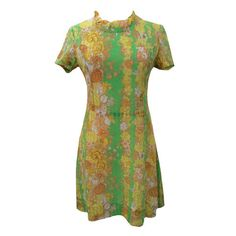 1970s green and yellow vintage tea dress