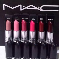 """Amazing, beautiful, pigmented lipsticks by MAC. Really love the the colors """"Lingering Kiss"""", """"Hearts Aflame"""", and """"Myself"""".  #Mac #Pretty #makeup #lipstick"""