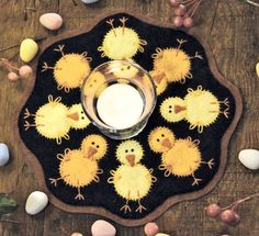Chicks Wool Applique Candle Mat Pattern or Felt Kit - BR 136 - Baby Chicks Candle Mat - Spring Decor Penny Rug Patterns, Wool Applique Patterns, Felt Patterns, Felt Applique, Felt Embroidery, Print Patterns, Felted Wool Crafts, Felt Crafts, Wool Quilts