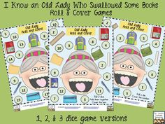 Old Lady Who Swallowed Some Books-  3 FREE Roll and Cover games (1 die, 2 dice, and 3 dice versions)