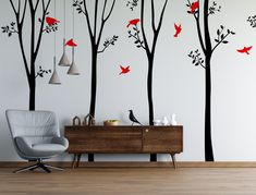 Decal #6263Includes all 7 trees and birds.Choose the color for the tree and choose the color for the birds.9ft tall tree options: individual trees are between 20in-40in wide.10ft tall tree options: individual trees are between 25in-4...