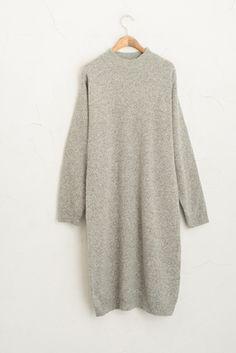 High Neck Knit Dress, Grey