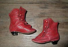 Red French Fashion Doll Boots