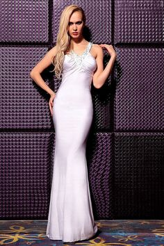 Fitted V Neck Cut Outs Back White Jersey Beaded Evening Prom Dress With Straps
